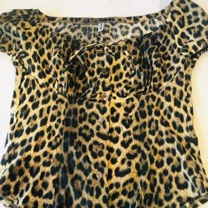 MOSCHINO**Leopard Peasant Style Top**US Med. $489